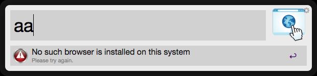 DefaultBrowser Example Screenshot 4 -  No such browser installed error