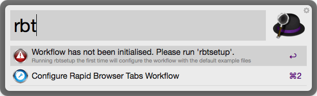 Rapid Browser Tabs Workflow for Safari and Chrome on Alfred App - Pre Configure Screen