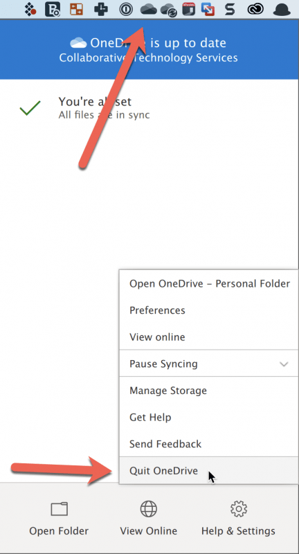 Right Clicking on OneDrive MenuBar item and pointing to select 'Quit OneDrive'